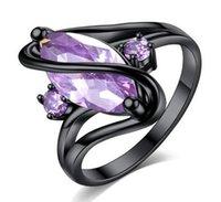 ingrosso le pietre nere squillano le donne-Carino femminile blu rosa viola CZ Stone Ring Moda colore nero brillante cavallo occhio di cristallo gioielli vintage anelli di nozze per le donne