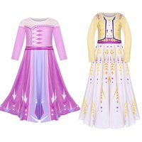 Wholesale ankle length dresses for autumn for sale - Group buy Snow Queen II Cosplay Fancy Princess Dress for Girls Princess Costume Christmas Party Kids False Two Pieces Dresses M918