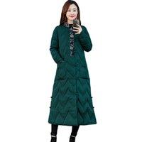 китайские пуховики оптовых-Китайский ветер женщин вниз хлопок пальто парки для женщин зимняя куртка новый длинный хлопок мягкий печать сгущаться пальто
