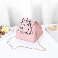 Wholesale metal body chains for sale - Group buy Unicorn Print PU Leather Metal Chains Bag Female Mini Square Bag Cartoon messenger Crossbody Bags LJJP136