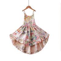 vestido del oeste de las muchachas del niño al por mayor-Everweekend Sweet Kids Girls Backless Halter Dress Summer Floral Flamingo Print Western New Fashion Beach Wear Dress