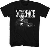 machines mâles adultes achat en gros de-Scarface Tony avec Machine Gun licence T-shirt classique Adulte Homme Femme T-shirt