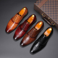 Wholesale new casual formal shoes for sale - Group buy 2019 New Luxury Men s Dress Leather Shoes Plus Size Lace up Business Casual Leather Shoes Men Formal Wedding Flat Shoes a16