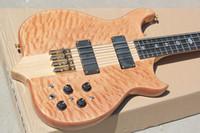 качественная натуральная гитара оптовых-Бесплатная доставка высокое качество натурального дерева цвет необычной формы 4 строки электрическая бас-гитара с пламенем кленового шпона, шеи через тело