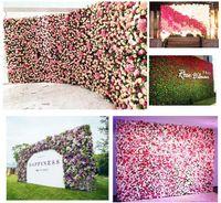 fundo da parede da flor venda por atacado-40x60cm 10 cores de seda da parede da flor de Rosa Decoração do casamento artificial backdrop da parede da flor da flor do casamento Romantic Decor