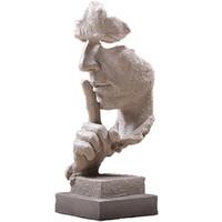 estatua de mano de china al por mayor-Estatuas creativa de la cara y manos esculturas para la decoración del hogar, La estatua del pensador Hombre Silencioso Figura, mano de obra fina amigable eco Resina Artesanía