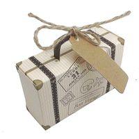 mini cartão mala venda por atacado-100 Pcs Criativo Mini Caixa De Doces Mala De Embalagem De Doces Caixa de Presente de Casamento Caixa de Presente Fontes Do Partido Do Casamento Favores Com Cartão T8190629