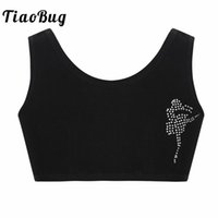 ingrosso giovani bras-TiaoBug Kids Puber Growing Young Girls Strass Basic Soft Cotton Sport Dancewear Bra Bambini Balletto Ginnastica Ritaglia Top