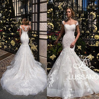 Wholesale mermaid train wedding dress for sale - Group buy Gorgeous Capped Sleeves Mermaid Wedding Dresses Full Lace Appliques Tulle Wedding Bridal Gowns with Long Sweep Train Custom Made BC2115