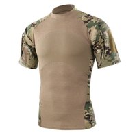 camiseta de manga curta do exército venda por atacado-Homens de Verão Ao Ar Livre Caminhadas Camping T-shirt Tático Do Exército Verde Esporte Tees Camuflagem de Manga Curta T-shirt Frete Grátis