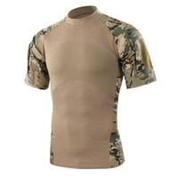 ingrosso maglietta manica corta dell'esercito-Maglietta esterna di campeggio di escursionismo di campeggio di estate degli uomini Maglietta tattica delle camice del camuffamento delle magliette del Manica di verde dell'esercito di T-Shirt Trasporto libero