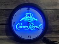 signes royaux de couronne achat en gros de-0E104 Crown Royal Derby Whiskey APP RGB LED 5050 Neon Light Signs Horloge murale