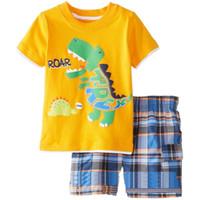 bragas de algodón amarillo al por mayor-Conjunto de ropa amarillo chico Dino Camiseta de niños ROAR Traje de pantalón a cuadros Traje de niños 100% Algodón Tops Bragas 2 3 4 5 6 7 Año