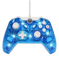 Wholesale console shells resale online - Wired usb gamepad for Microsoft Xbox ONE Console PC Windows Transparent shell Key improvement Three mode Dazzling LED Free DHL