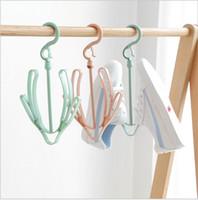Wholesale folding hook for clothes hangers resale online - Plastic Shoe Racks Underwear Drying Rack Hook Hanger Shoe Drying Rack Small Hanging Rack for Outdoor Random Color