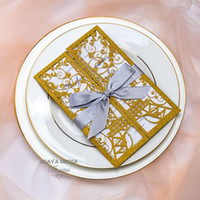 Elegant Glitter Gold Laser Cut Eiffel Tower Wedding Invitation Cards Greeting Card With Ribbon And Envelope