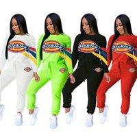chemises de bowling imprimées achat en gros de-Femmes Designer Outfits Hoodies + Leggings Ensemble 2 pièces Costume Sport Lettre Imprimer Chemises + Collants Survêtement Automne Vêtements Pullover Suit 1369