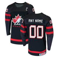 kundenspezifische jersey-stickerei großhandel-Herrenstickerei Schwarz Rot, Weiß 00 # Kundenspezifische Namensnummer Hockey Canada Custom Replica Jersey