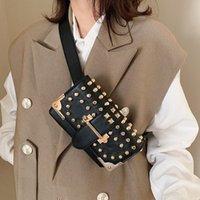 Wholesale black waist bags for women resale online - Fashion Waist Belt Bag For Women Punk Rivet Fanny Pack Chest Bag High Quality Chain Phone Hip Waist Pack