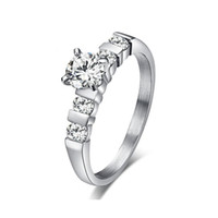 Wholesale cubic zirconia eternity rings for sale - Group buy Eternity Love Engagement Ring Bridal for Women Stainless Steel Cubic Zirconia Wedding Rings