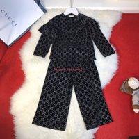 modelos de patas largas al por mayor-Conjuntos de pantalones de otoño para niñas, ropa de diseñador para niños, camisa de manga larga + pantalones de pierna ancha, conjunto de modelos tridimensionales de 2 piezas