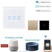 ingrosso interruttore luminoso 433mhz-Smart Wifi Wall Touch Light Switch EU 433 mhz Smart Home Touch Panel Interruttore 220 V Wifi Control EWelink App, pannello a parete Smart