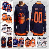 edmonton jugend großhandel-Maßgeschneiderte Edmonton Oilers 2019 NEU Navy Blue Third Jersey Custom Beliebige Anzahl Name Männer Frauen Jugend Kind Weiß Orange McDavid Gretzky Neal 4XL