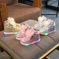 Wholesale children shoes girls online - 3 colors Girls Sneakers Kids plush Rabbit ears Led Lighting shoes Children bunny Casual Shoes Baby Flashing light Flat Shoes C5950