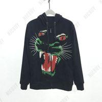 sudaderas de leopardo para hombre al por mayor-Algodón casual fashion otoño diseñador Marca para hombre leopardo rojo verde lobo animal bordado sudaderas con cremallera cardigan sudadera con capucha