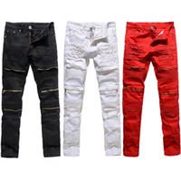 venda de calças jeans rasgadas venda por atacado-Moda Mens Moda Faculdade Meninos Skinny Pista Reta Zíper Denim Calças Jeans Rasgado Destroyed Preto Branco Vermelho Calça Jeans Venda Quente