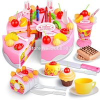 Wholesale toys cake for children for sale - Group buy 75PCS Cut Birthday Cake Toys Set Kitchen Fruit Children Pretend Play Food Early Educational Classic Toy Gifts For Kid Model Game Y200413