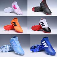 futbol futbol topları toptan satış-2019 orijinal erkek futbol cleats Nemeziz Messi 18 + FG futbol ayakkabıları Nemeziz 18 chaussures de futbol çizmeler chuteiras de futebol turuncu