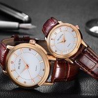 quarzleder braune farbe frauenuhr großhandel-Männer und Frauen Paare Quarzuhr Leder wasserdicht Mode lässig braun schwarz Farbe Uhr