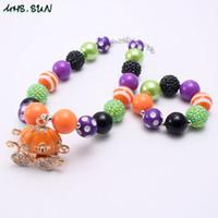 Wholesale girls chunky necklaces resale online - Halloween pumpkin pendants chunky beads necklace bracelets set for child kids girls party jewelry set orange black beads