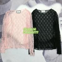 blusa tops designs venda por atacado-Design T-shirt com letra bordado oco Out Top capuz Shirts Magro High End Mulheres Moda Luxo Runway Feminino Lace Tee Blusa Tops