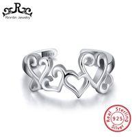 сердце кольцо корейское оптовых-Rinntin 925 Sterling Silver Hollow Heart Ring For Women Love Lock Korean Wedding Bands Anniversary jewelry Gift Wholesale TSR106