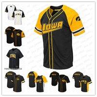 pedidos de camisetas de béisbol juvenil al por mayor-Nombre cosido oro blanco de encargo de Iowa Hawkeyes NCAA Baseball Jersey para mujer para hombre Negro Juventud y nmber orden de la mezcla de alta Quailty