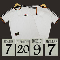 Wholesale germany black jerseys resale online - Germany retro soccer jersey home white BOBIC KUNTZ BIERHOFF BODE SCHOLL classic antique vintage football shirt