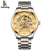 ik coloração venda por atacado-IK coloração Mecânica Homens Relógio Automático Auto Vento Relógios de Aço Completo Wristwath Relogio masculino Montre Automatique Homme
