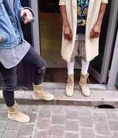 askeri taktik ayakkabılar toptan satış-Sıcak Satış-Homme Yeni Süperstar Tasarımcı Kanye West Ayakkabı Erkekler Askeri Krep Çizmeler Siyah Kahverengi Taktik Düz Boot Lace Up Sonbahar Ayak Bileği Patik