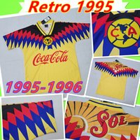 ingrosso messicano d'epoca-Retro 1995 1996 America Messico CLUB LEAGUE CA maglie di calcio epoca Camiseta de futbol casa giallo 95 96 maglie da calcio LIGA MX