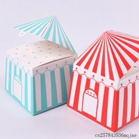 Wholesale circus party decorations for sale - Group buy 200pcs Striped Boxes Tent Paper Candy Box Gift Box Circus Party Cartoon Kids Birthday Party Decoration Favors