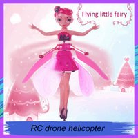 Wholesale fairy toys fly for sale - Group buy 2019 DIY Flying Fairy Dolls Toy Mini RC Drone Infrared Induction Control LED Light Flying Fairies Doll Helicopter Toys for Girls Xmas Gift