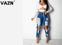 intervalos de luz venda por atacado-Completos VAZN Outono 2020 elásticas magras novas mulheres bolsos casuais jovem correia quebrada buraco de luz alta calças de ganga