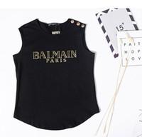 botones de chaleco de moda al por mayor-Camisa con gráfico de moda Blusas Verano Elegante Camiseta Botón de niña Camiseta sin mangas Algodón puro Inspirado Camiseta de manga corta Camiseta de diseñador