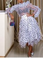 blusa multi puntos al por mayor-2 Unidades Conjuntos de Mujer Blusa Faldas Trajes de Lunares Ruffles Delgadas Camisas Transparentes Elegante Tutu Jupes Señora Moda Verano Primavera Y19051402
