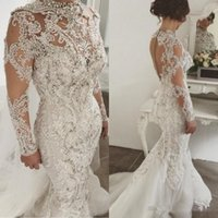 Wholesale mermaid strap rhinestone wedding dress for sale - Group buy Luxury Rhinestones Mermaid Wedding Dresses High Neck Lace Applique Bridal Gowns Beaded Long Sleeves Wedding Dress Tulle Bridal Dress