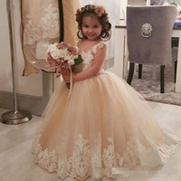 Wholesale hot toddler pageant dresses for sale - Group buy Hot Sale Lace Ball Gown Beaded Flower Girl Dresses for Wedding Sheer Jewel Neck Toddler Pageant Gowns Appliqued Tulle Kids Communion Dress