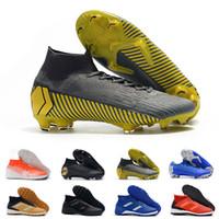 botas amarillas para niño al por mayor-2019 Nueva Mercurial Superfly Ronalro Tacos de fútbol FG zapatos del fútbol de interior para niños botas de fútbol Neymar Cr7 Niños Botas Rising Fast Pack 35-45