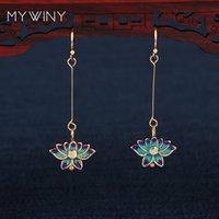 Wholesale chinese silver enamel resale online - MYWINY New fashion jewelry Cloisonne Lotus flowers earrings women Chinese wind enamel long hook earrings red